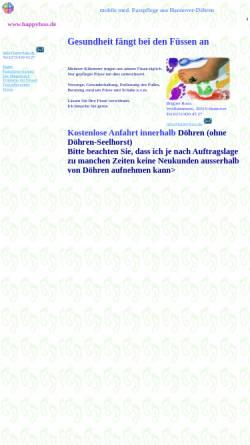 Vorschau der mobilen Webseite www.happyfuss.de, Mobile Fußpflege Brigitte Koch
