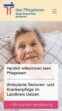 Vorschau der mobilen Webseite www.pflegeteam-uelzen.de, Das Pflegeteam - Birgit Ohrenschall und Reinhardt