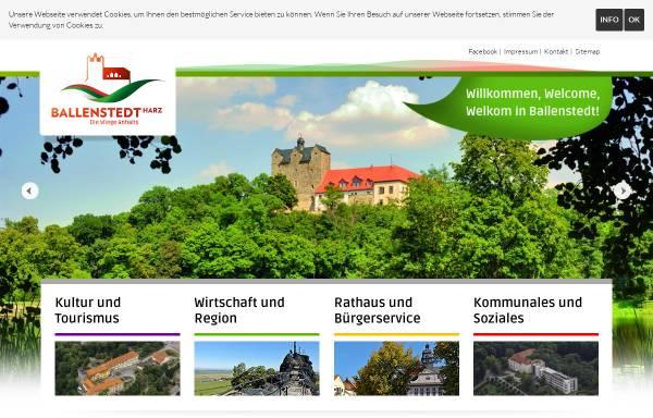 Vorschau von www.ballenstedt.de, Ballenstedt am Harz