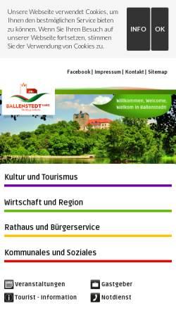Vorschau der mobilen Webseite www.ballenstedt.de, Ballenstedt am Harz