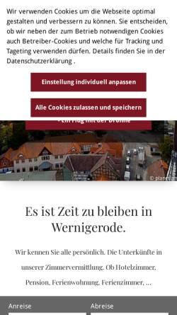 Vorschau der mobilen Webseite www.wernigerode-tourismus.de, Wernigerode - die bunte Stadt am Harz.
