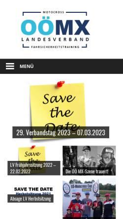 Vorschau der mobilen Webseite www.ooelvmotocross.at, Oberösterreichischer Landesverband für Moto Cross Sport und Fahrsicherheitstraining