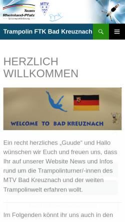 Vorschau der mobilen Webseite www.trampolin-bad-kreuznach.de, MTV Trampolinturnen Bad Kreuznach
