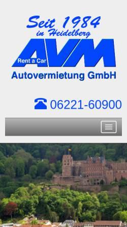 Vorschau der mobilen Webseite www.avm-heidelberg.de, AVM Autovermietung