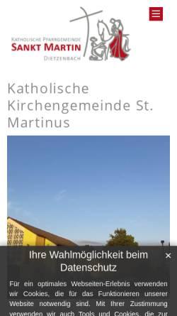 Vorschau der mobilen Webseite www.st-martin-dietzenbach.de, Katholische Pfarrgemeinde St. Martin