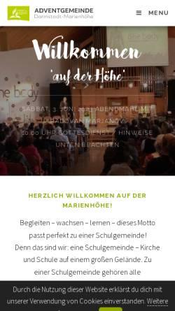 Vorschau der mobilen Webseite www.auf-der-hoehe.de, Adventgemeinde Marienhöhe