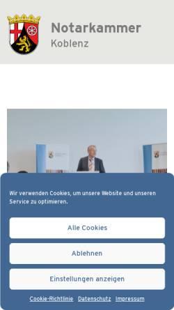 Vorschau der mobilen Webseite www.notarkammer-koblenz.de, Notarkammer Koblenz.