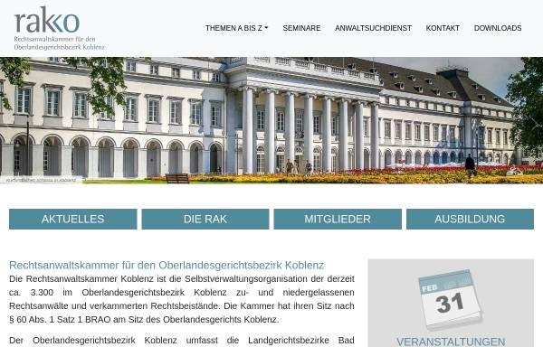 Vorschau von www.rakko.de, Rechtsanwaltskammer Koblenz
