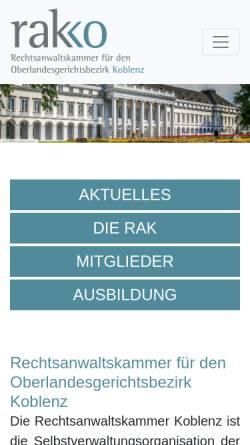 Vorschau der mobilen Webseite www.rakko.de, Rechtsanwaltskammer Koblenz