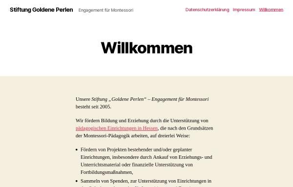 Vorschau von www.stiftung-goldene-perlen.de, Stiftung Goldene Perlen - Engagement für Montessori