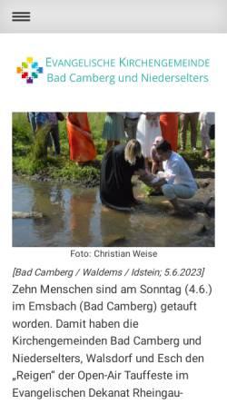 Vorschau der mobilen Webseite www.badcamberg-evangelisch.de, Ev. Kirchengemeinde Bad Camberg und Niederselters