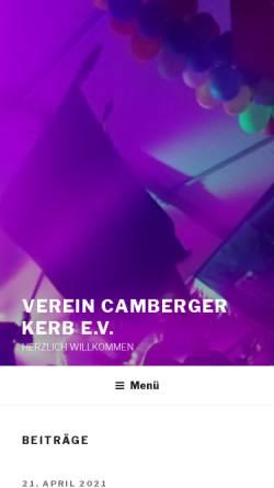 Vorschau der mobilen Webseite www.camberger-kerb.de, Verein zur Förderung des Brauchtums Camberger Kerb e.V.