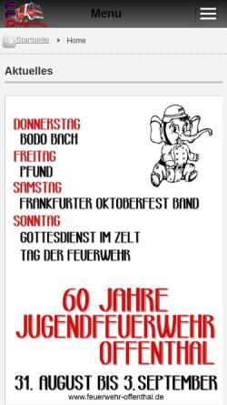 Vorschau der mobilen Webseite www.feuerwehr-offenthal.de, Freiwillige Feuerwehr Dreieich-Offenthal