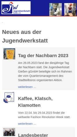 Vorschau der mobilen Webseite jugendwerkstatt-giessen.de, Jugendwerkstatt Gießen e. V.