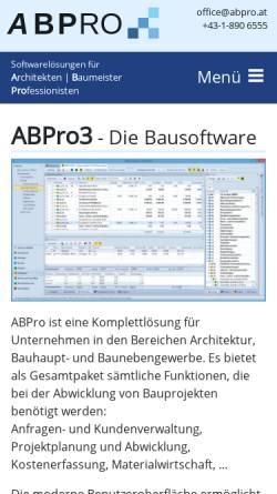 Vorschau der mobilen Webseite www.abpro.at, ABPro