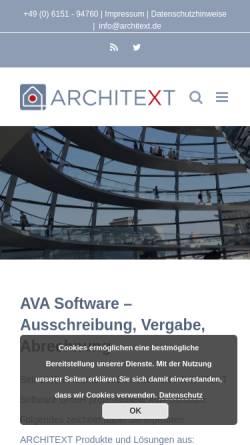 Vorschau der mobilen Webseite www.architext.de, Architext Software GmbH
