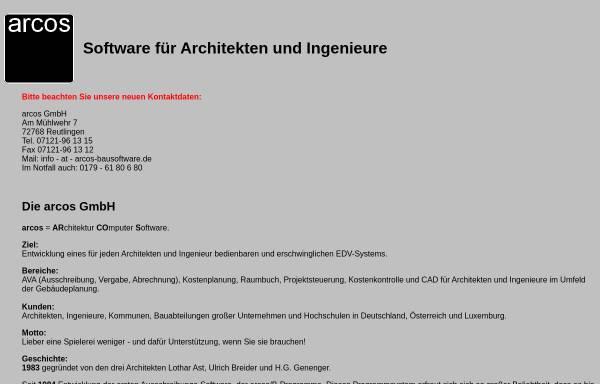 Vorschau von www.arcos-bausoftware.de, Arcos GmbH