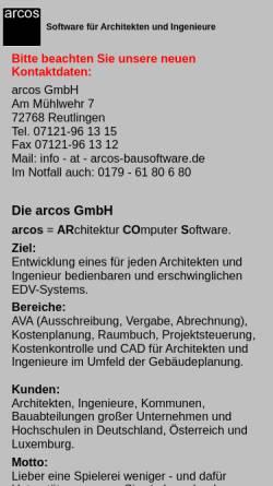Vorschau der mobilen Webseite www.arcos-bausoftware.de, Arcos GmbH