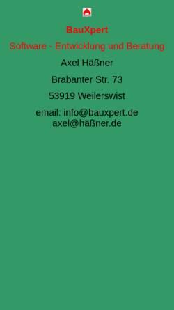 Vorschau der mobilen Webseite www.bauxpert.de, BauXpert GmbH