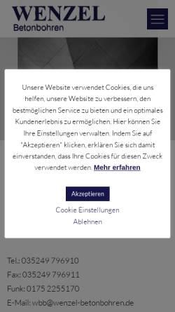 Vorschau der mobilen Webseite www.wenzel-betonbohren.de, Wenzel Betonbohren GmbH