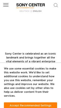 Vorschau der mobilen Webseite www.sonycenter.de, Sony Center am Potsdamer Platz