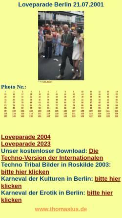 Vorschau der mobilen Webseite www.thomasius.de, 140 Photos von der Loveparade 2001