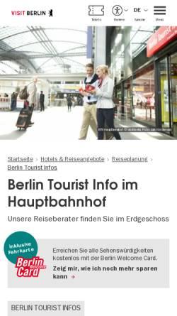 Vorschau der mobilen Webseite www.visitberlin.de, Berlin Tourist Information