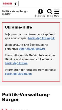 Vorschau der mobilen Webseite www.berlin.de, Land Berlin