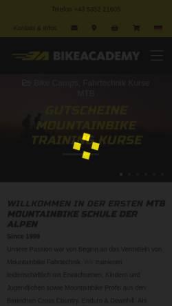 Vorschau der mobilen Webseite www.bikeacademy.at, Bikeacademy, Kurt Exenberger
