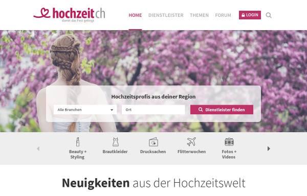 Vorschau von www.heiraten.ch, Schweizer Hochzeitsportal