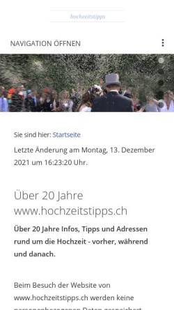 Vorschau der mobilen Webseite www.hochzeitstipps.ch, Hochzeitstipps für die Schweiz