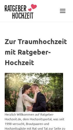 Vorschau der mobilen Webseite www.ratgeber-hochzeit.de, Ratgeber Hochzeit