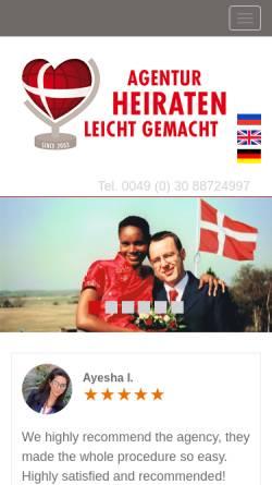 Vorschau der mobilen Webseite www.heiraten-leicht-gemacht.de, Agentur Heiraten Leicht Gemacht