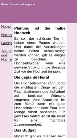 Vorschau der mobilen Webseite www.hochzeitonline.de, Erstellung einer Hochzeitswebsite