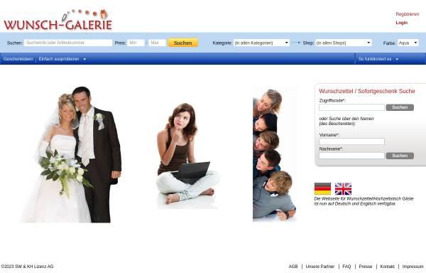 Vorschau von www.wunsch-galerie.de, Hochzeitstisch, Hochzeitsliste online