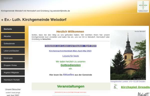 Vorschau von www.kirche-weixdorf.de, Ev.-Luth. Kirchgemeinde Weixdorf mit Hermsdorf und Grünberg