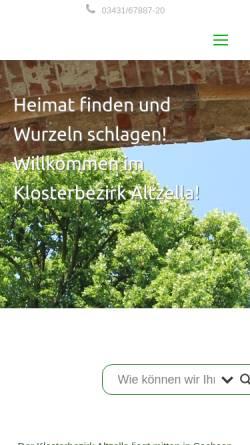 Vorschau der mobilen Webseite www.klosterbezirk-altzella.de, Förderverein im Klosterbezirk Altzella e.V.