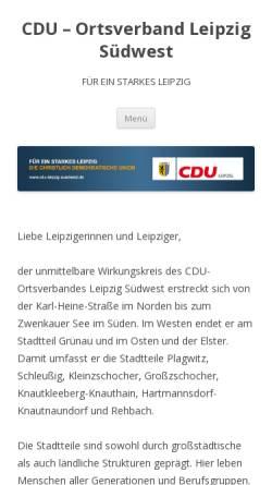 Vorschau der mobilen Webseite cdu-leipzig-suedwest.de, CDU-Ortsverband Leipzig-Südwest