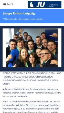Vorschau der mobilen Webseite www.ju-leipzig.de, Junge Union Leipzig