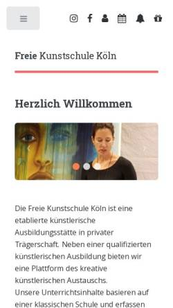 Vorschau der mobilen Webseite www.kunstschule-koeln.de, Freie Kunstschule Köln