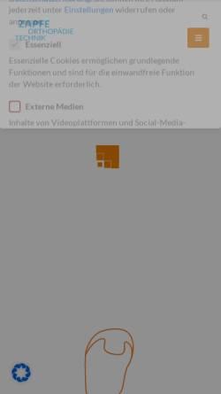 Vorschau der mobilen Webseite zapfe.de, Zapfe Orthopädie-Technik