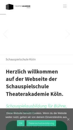 Vorschau der mobilen Webseite theaterakademie-koeln.de, Theaterakademie Köln