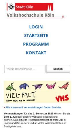 Vorschau der mobilen Webseite www.stadt-koeln.de, Volkshochschule Köln