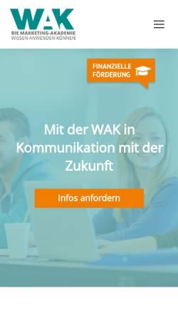 Vorschau der mobilen Webseite www.wak.de, WAK Westdeutsche Akademie für Kommunikation