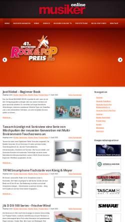 Vorschau der mobilen Webseite www.musiker-online.de, Deutscher Rock- und Popmusikerverband