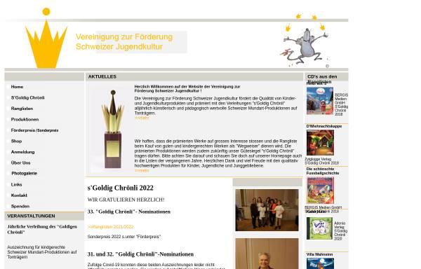 Vorschau von www.sgoldigchroenli.ch, Vereinigung zur Förderung Schweizer Jugendkultur