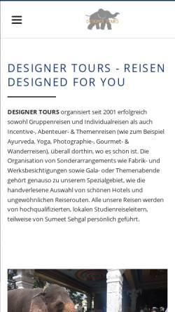 Vorschau der mobilen Webseite www.designer-tours.eu, Designer Tours