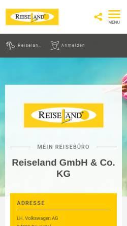 Vorschau der mobilen Webseite reiseland-baunatal.de, Reiseland GmbH