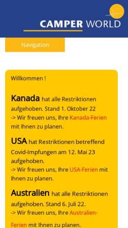 Vorschau der mobilen Webseite www.camperworld.ch, CamperWorld Reisen AG