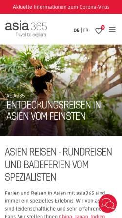 Vorschau der mobilen Webseite www.asia365.ch, intens travel